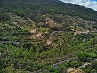 Aerial photography Banyalbufar small village, Mallorca. Spain