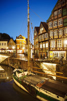 Hanseatic port with the sailing ship Willi in the evening, Stade, Lower Saxony, Germany, Europe