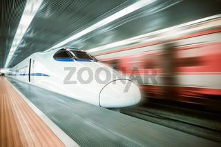 modern high speed train passing station