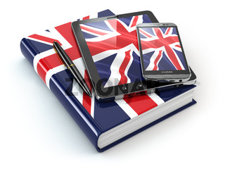 English learning. Mobile devices, smartphone, tablet pc and book .