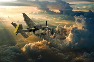 3D rendering of a world war two german dive bomber diving.