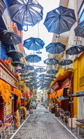 Street decorated with umbrellas in Athens