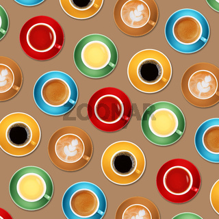 Pattern of different coffee and tea cups on beige