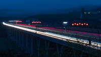 Highway bridge in the early morning in long exposure