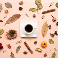 Cup of coffee with autumn leaves and plant on pink background. flat lay, top view