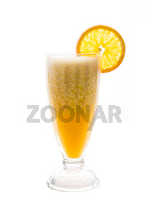 Lemon cocktail with freshly squeezed lemon and syrup in a transparent glass with water droplets. Healthy, homemade lemonade. Isolated on a white background. Cocktail decoration: mint, fresh lemon slices, ice cubes.