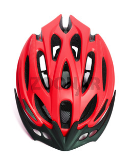 Red bicycle helmet isolated on white background
