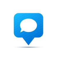 Bright blue trendy icon for social network. Comment piktogram on white
