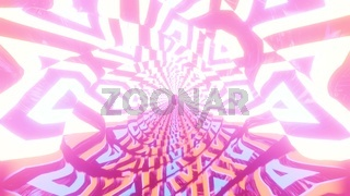 Glowing textured tunnel fly through 3d illustration background wallpaper