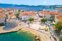 Korcula island. Historic town of Korcula waterfront aerial view