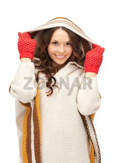 beautiful woman in white sweater