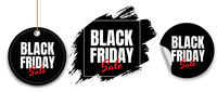 Black Friday Labels Set White Background With Gradient Mesh
