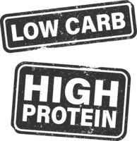 LOW CARB and HIGH PROTEIN stamp or label set