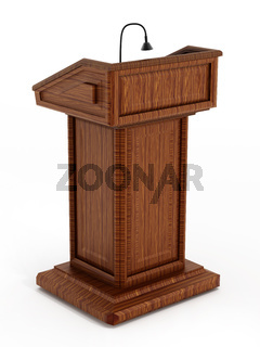 Isolated wooden lectern