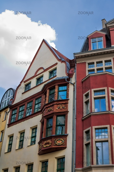 Halle Saale, Germany - 17.06.2019 - renovated old buildings on the market square