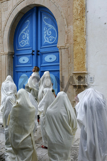 TUNISIA SIDI BOU SAID OLD TOWN WOMEN
