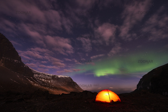 tent with Northern lights, Lapland, Sweden