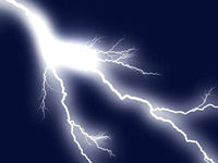 flashes of lightning in the night sky