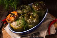 Stuffed peppers with bulgur, zucchini and sheep's cheese