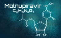 Chemical formula of Molnupiravir on a futuristic background
