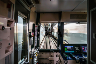 View from the drivers seat of the Sendai City Subway