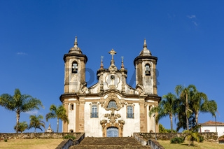 Facade of historic 18th century church in colonial architecture