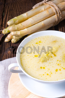 Delicious spring white asparagus soup