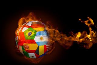 Fire surrounding international flag football