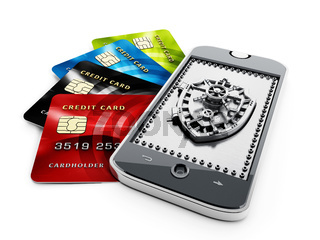 Credit cards and shield shaped vaulted door on smartphone