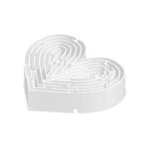 Complicated gray labyrinth in heart shape in isometric view on white