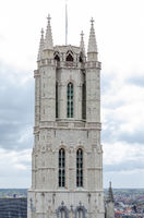 Tower of the Saint Bavo Cathedral in Belgian city of Ghent