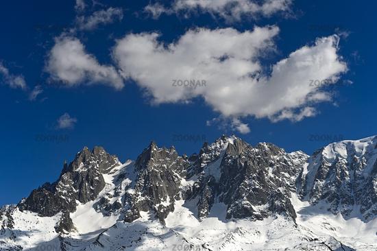 Peaks Aiguilles de Chamonix in the Mont Blanc massif,, Chamonix, Haute-Savoie, France