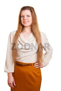 Lächelnde Frau mit langen Haaren