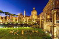 The ruins of the Trajan's Forum in Rome at night