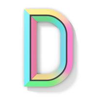 Neon color bright font Letter D 3D