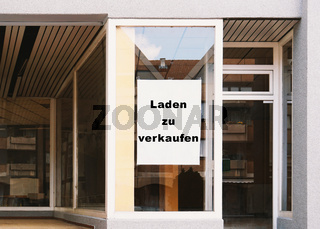 Laden zu verkaufen - translates as store for sale - german sign