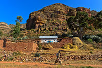 Traditional farmstead in the Gheralta Mountain range, near Hazwien, Tigray, Ethiopia