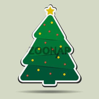 simple christmas tree with christmas ornaments badge or sticker
