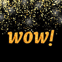 WOW Lettering on Gold Flying Conetti Background