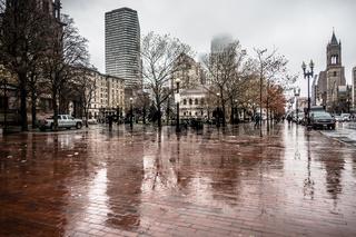 rainy day in city of boston massachusetts