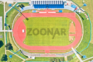 Soccer field green terrain aerial view