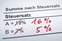 Mehrwertsteuer  - value-added tax in German - tax rate reduction