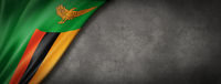 Zambian flag on concrete wall banner