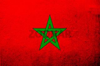 The Kingdom of Morocco National flag. Grunge background
