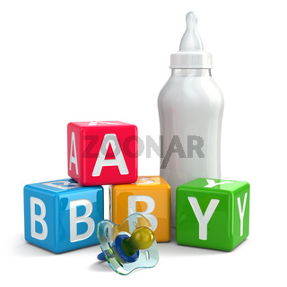 Pacifier, Milk in bottle and buzzword blocks with word baby.