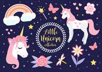 Cute little unicorn set, modern cartoon style. Fairytale collection for children with rainbow, flowers, stars, magic. Vector illustration