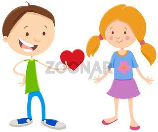valentine card with cartoon cute girl and boy