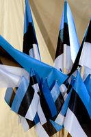 Flags of the Republic of Estonia in blue black whi