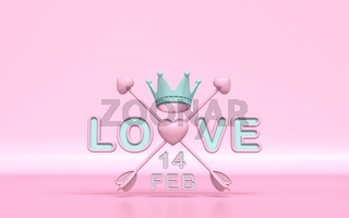 Love text with crossed Cupid's arrows and Valentine's day date 3D