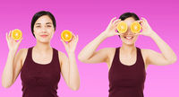 collage happy chinese,asian woman,girl holding pieces of oranges isolated on purple background, skin care cosmetic concept, copy space,billboard blank